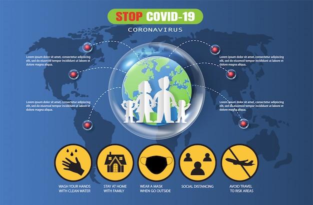Le style art papier de l'arrêt covid-19, éléments infographiques du coronavirus, protège votre santé et celle de votre famille en restant à la maison.