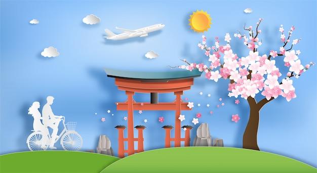 Style d'art de papier des attractions historiques et touristiques du japon.