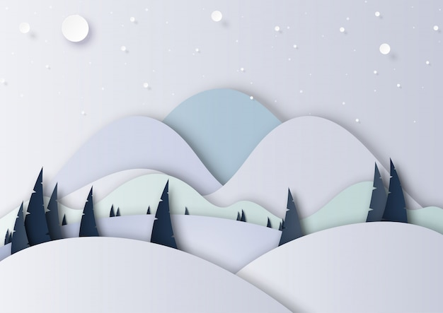 Style de l'art papier hiver saison paysage fond