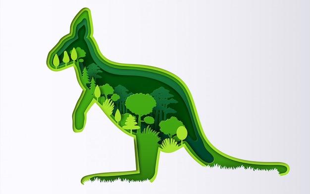 Style art papier de kangourou avec de nombreuses plantes, l'origami sauve la planète et l'énergie.