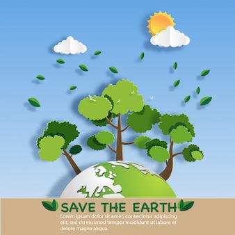 Style art papier de paysage avec eco green city.
