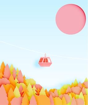 Style art papier de téléphérique avec beau paysage en automne fond vecteur illustratio