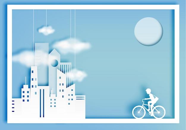 Style d'art de papier vélo de ville avec fond de ville