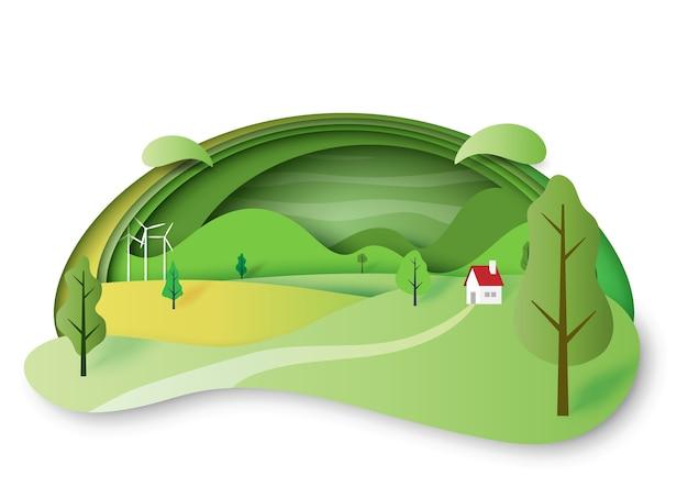 Style d'art vert écologie et environnement concept papier.
