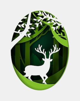 Style artisanal de forêt écologique verte avec deer.