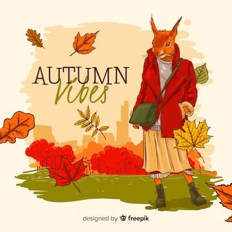 Style d'automne fond dessiné à la main