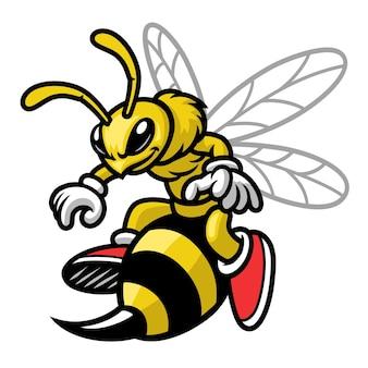Style de bande dessinée d'abeille de mascotte