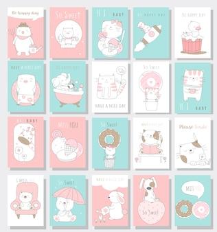 Style de bande dessinée de bébé mignon animaux carte