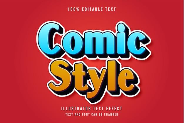 Style de bande dessinée, effet de texte modifiable 3d dégradé bleu effet comique orange jaune