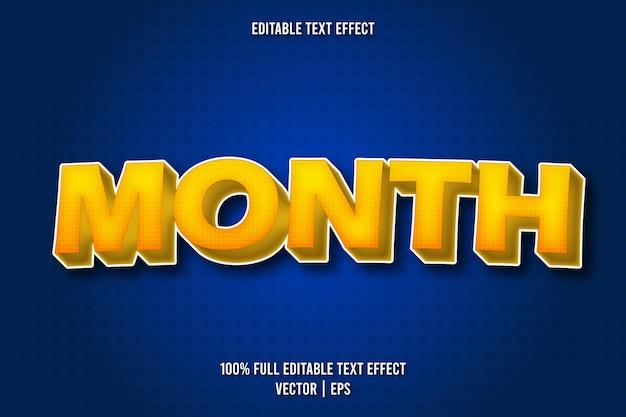 Style de bande dessinée à effet de texte modifiable par mois