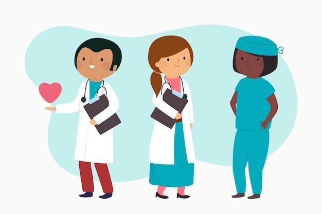 Style de bande dessinée de l'équipe de professionnels de la santé