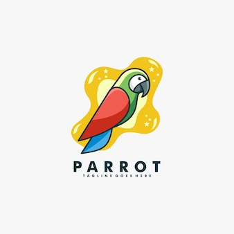 Style de bande dessinée de mascotte de perroquet de logo.