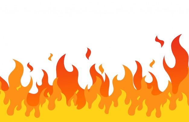 Style de bande dessinée plat flamme de feu