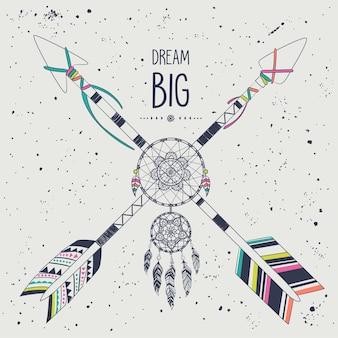 Style boho vintage avec flèches croisées ethniques tribales et capteur de rêves