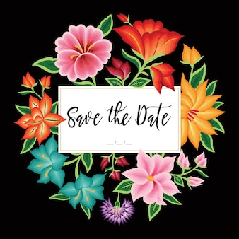Style de broderie d'oaxaca, mexique - save the date card template