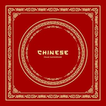 Style de cadre chinois sur rouge