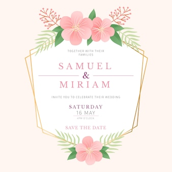 Style de cadre floral de mariage élégant