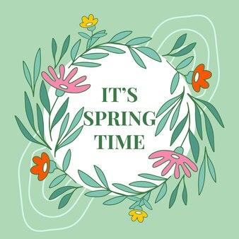 Style de cadre floral de printemps dessiné à la main