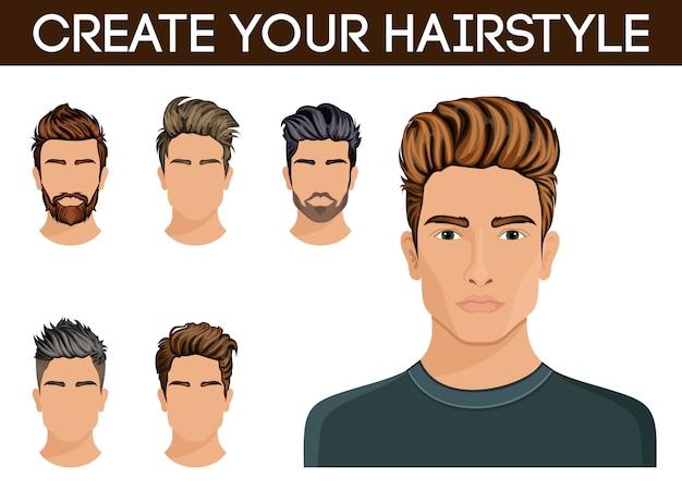 Style de caractère de barbe de cheveux d'hommes, hipster de moustache homme.