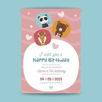 Style de carte d'anniversaire pour enfants