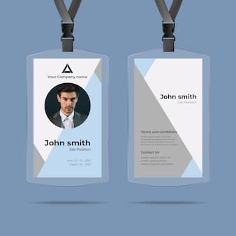 Style de cartes d'identité minimal avec photo
