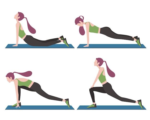 Style cartoon heureux jeunes hommes et femme faisant des activités de yoga à côté de la maison pour rester en bonne santé