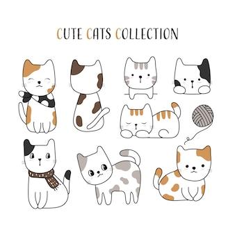 Style de chat mignon dessiné à la main