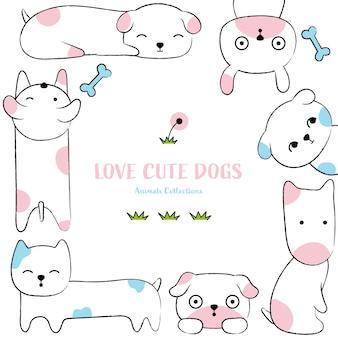 Style de chiens dessinés à la main des animaux mignons