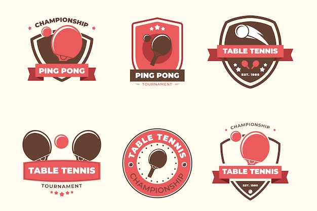 Style de collection de logo de tennis de table