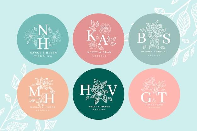 Style de collection de monogramme de mariage floral