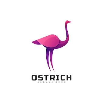 Style coloré dégradé d'autruche logo