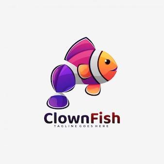 Style coloré de dégradé de poisson clown logo.