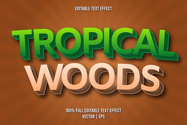 Style comique d'effet de texte modifiable de bois tropicaux