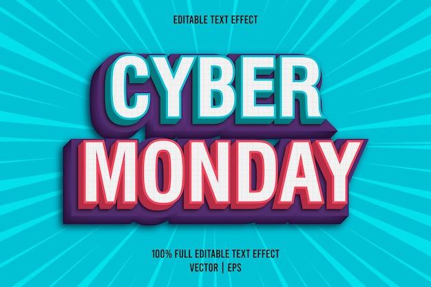 Style comique d'effet de texte modifiable cyber monday