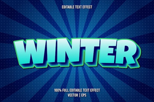 Style comique d'effet de texte modifiable d'hiver