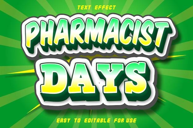 Style comique d'effet de texte modifiable de jours de pharmacien