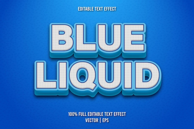 Style comique d'effet de texte modifiable liquide bleu