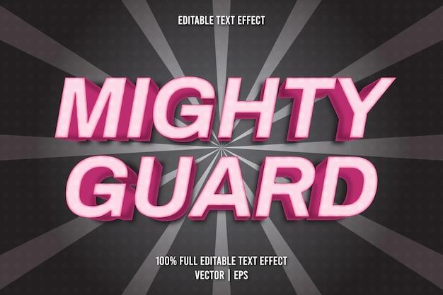 Style comique d'effet de texte modifiable mighty guard