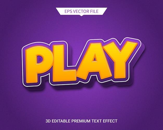 Style comique jouer effet de texte modifiable 3d