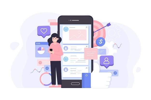 Style de concept de marketing des médias sociaux