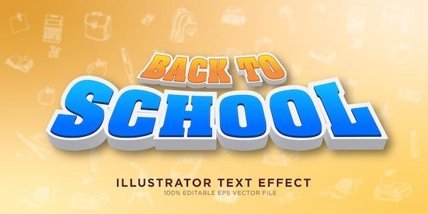 Style de conception d'effet de texte de retour à l'école