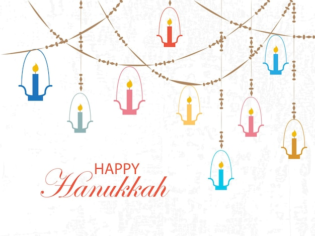 Style de conception falt insigne de logotype happy hanukkah et typographie d'icône lettrage de happy hanukkah