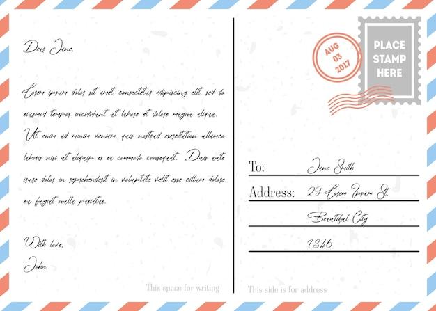 Style de conception vintage de carte postale avec texte, timbres et marque