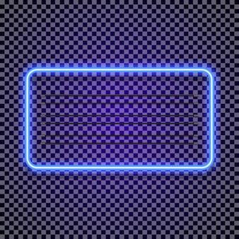 Style de couleur cyan cadre horizontal néon sur fond transparent pour le marché du tatouage