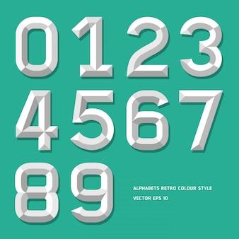 Style de couleur numéro alphabet moderne
