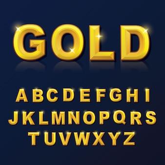 Style de couleur or alphabet