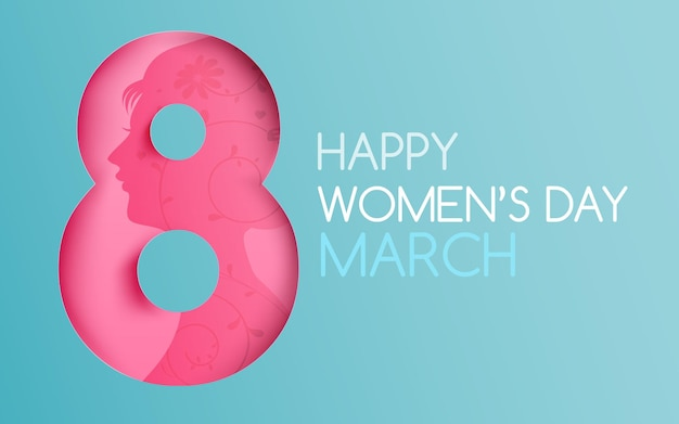Style de coupe de papier de calligraphie de texte happy women's day 8 mars