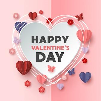 Style de coupe de papier joyeux saint valentin avec forme de coeur coloré en fond rose