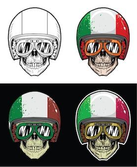 Style de crâne de motard cool portant casque drapeau grunge italie