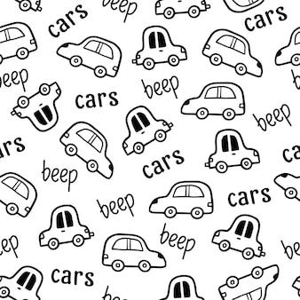 Style de croquis de doodle de modèle de voiture
